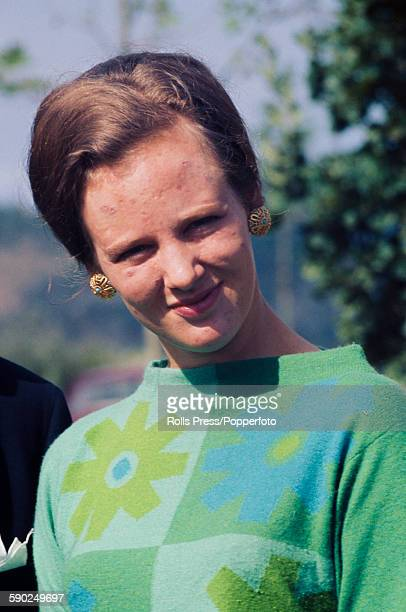 Princess Margrethe of Denmark pictured wearing a green and blue patterned smock dress in 1967 In 1972 Margrethe would ascend to the throne as Queen...