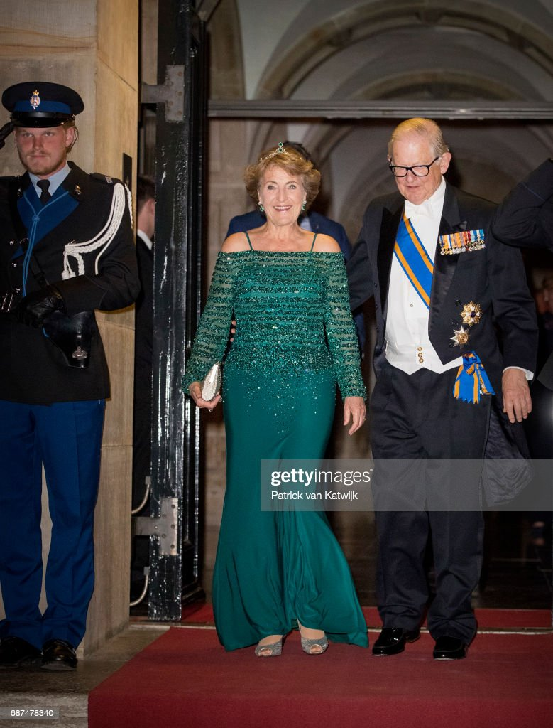 Princess Margriet and her husband Pieter van Vollenhoven of The Netherlands leave after the gala dinner for the Corps Diplomatic at the Royal Palace on May 23, 2017 in Amsterdam, Netherlands.