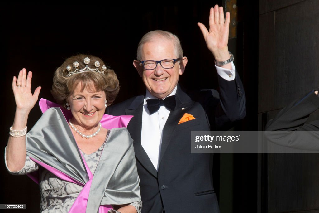 Princess Margriet of the Netherlands and her husband Pieter van Vollenhoven leave The Royal Palace in Amsterdam to attend a dinner hosted by Queen Beatrix of The Netherlands ahead of her abdication at the Rijksmuseum on April 29, 2013 in Amsterdam, Netherlands.