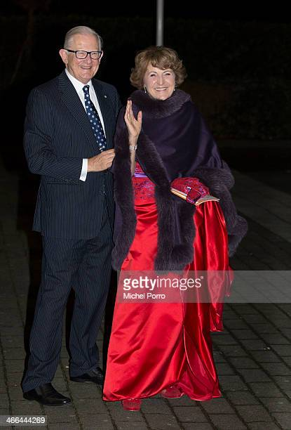 Princess Margriet of The Netherlands and Pieter van Vollenhove leave after attending a celebration of the reign of Princess Beatrix on February 1...