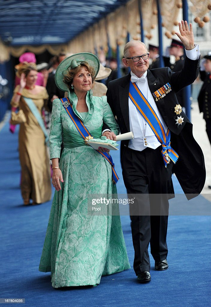 Princess Margriet of the Netherlands and Pieter van Vollenhoven leave following the inauguration ceremony for HM King Willem Alexander of the Netherlands, at New Church on April 30, 2013 in Amsterdam, Netherlands.