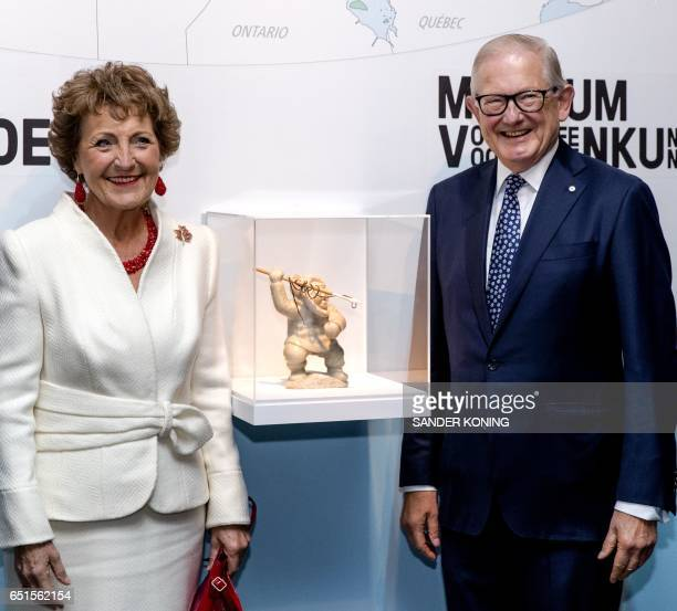 Princess Margriet of the Netherlands and Professor Pieter van Vollenhoven attend the opening of the Canadian Inuit Art exhibition at the Museum of...