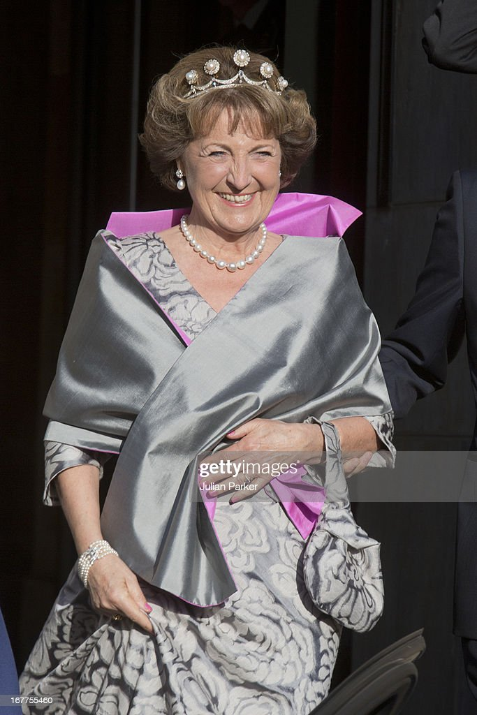 Princess Margriet of the Netherlands, leaves The Royal Palace in Amsterdam to attend a dinner hosted by Queen Beatrix of The Netherlands ahead of her abdication at the Rijksmuseum on April 29, 2013 in Amsterdam, Netherlands.