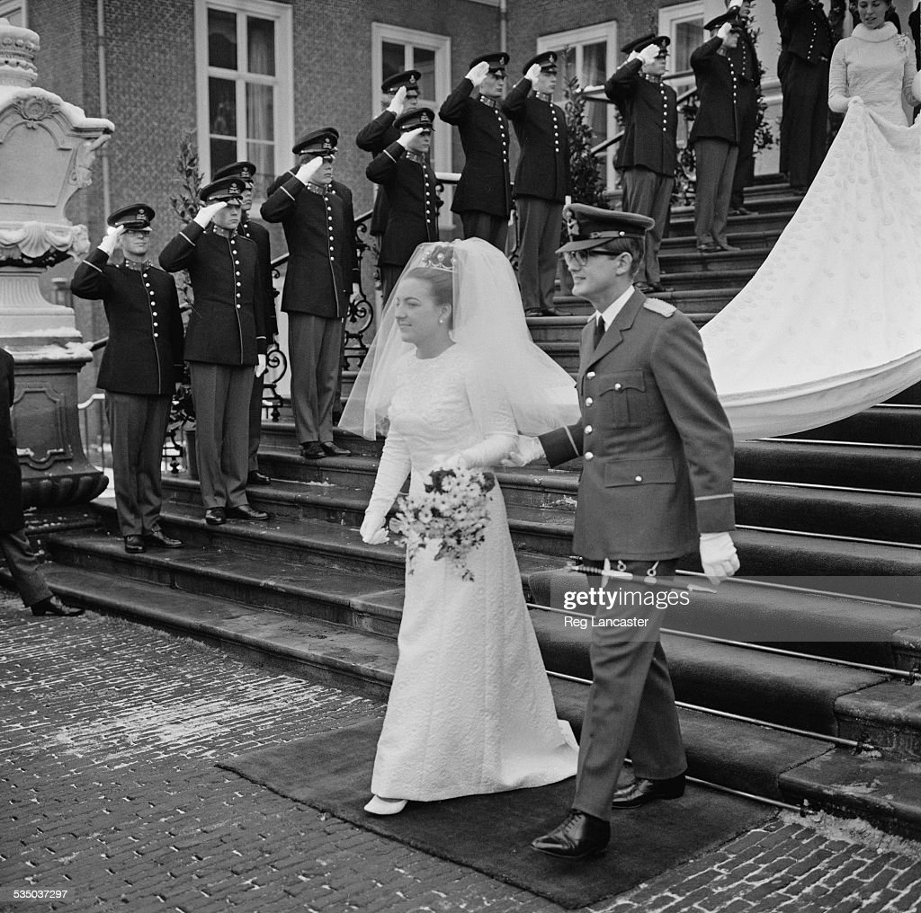 Princess Margriet of the Netherlands marries Pieter van Vollenhoven at the Hague, Netherlands, 10th January 1967.