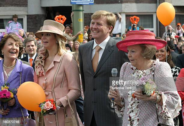 Princess Margriet Princess Maxima Crown Prince WillemAlexander and Dutch Queen Beatrix of the Netherlands attend the traditional Queens Day...