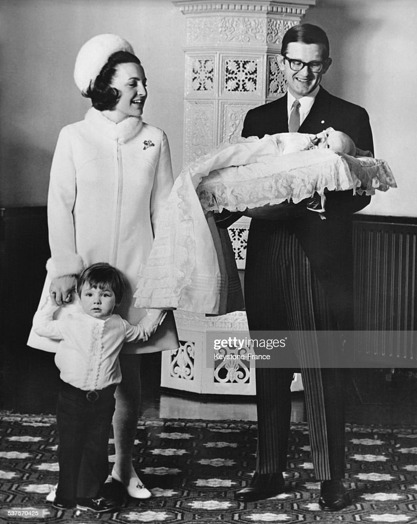 Princess Margriet with Prince Maurits and Pieter van Vollenhoven with Prince on February 21, 1970 in the Netherlands.
