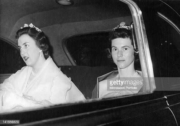 Princess Maria Cristina of Savoy Aosta arriving in a car at the court of King Baudouin of Belgium Brussels 9th April 1958