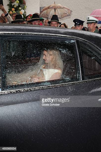 Princess Maria Theresia von Thurn and Taxis attends the wedding of Maria Theresia Princess von Thurn und Taxis and Hugo Wilson at St Joseph Church in...