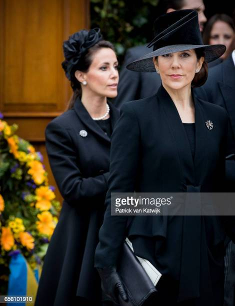Princess Marie of Denmark and Crown Princess Mary attend the funeral of Prince Richard at the Evangelische Stadtkirche on March 21 2017 in Bad...