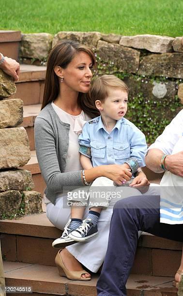 Princess Marie of Denmark and her son Prince Henrik Carl Joachim Alain pose during a photocall at Grasten Castle on August 1 2011 in Grasten Denmark