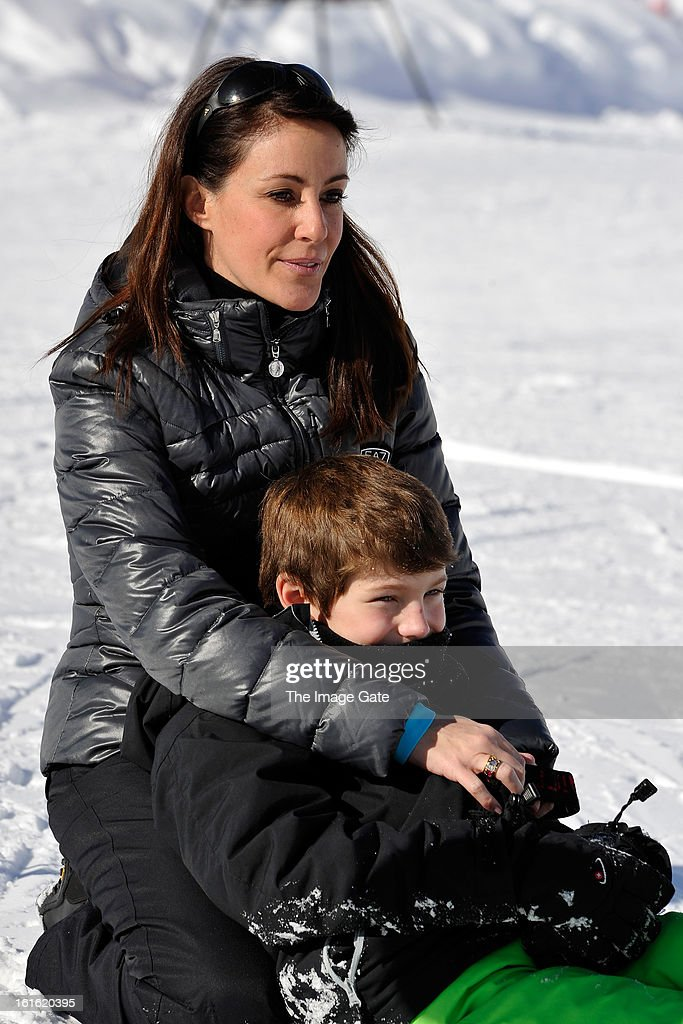 Princess Marie of Denmark and Prince Felix of Denmark meet the press, whilst on skiing holiday in Villars on February 13, 2013 in Villars-sur-Ollon, Switzerland.
