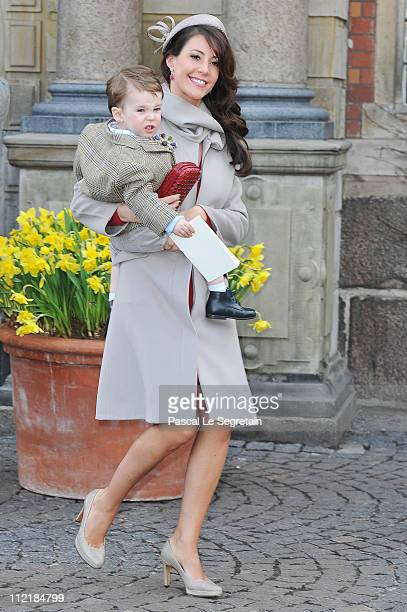 Princess Marie of Denmark and Prince Henrik arrive to attend the christening of Crown Prince Frederik of Denmark's twins at Holmens Kirke on April 14...