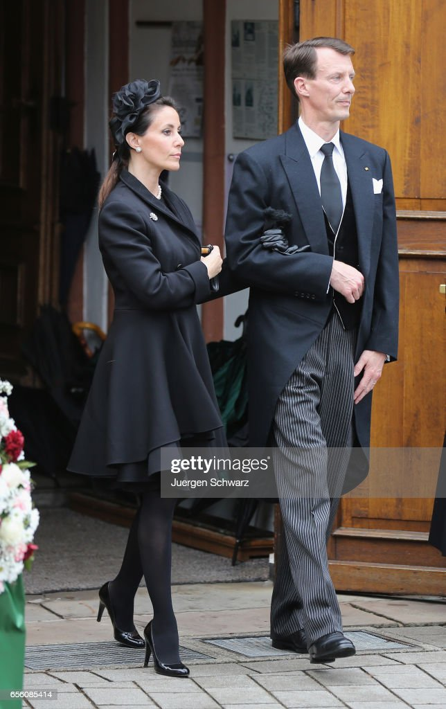 Princess Marie of Denmark and Prince Joachim leave the funeral service for the deceased Prince Richard of Sayn-Wittgenstein-Berleburg (1934 - 2017) at the Evangelische Stadtkirche on March 21, 2017 in Bad Berleburg, Germany. Prince Richard, husband of Princess Benedikte of Denmark, died suddenly on March 13, 2017 at age 83.