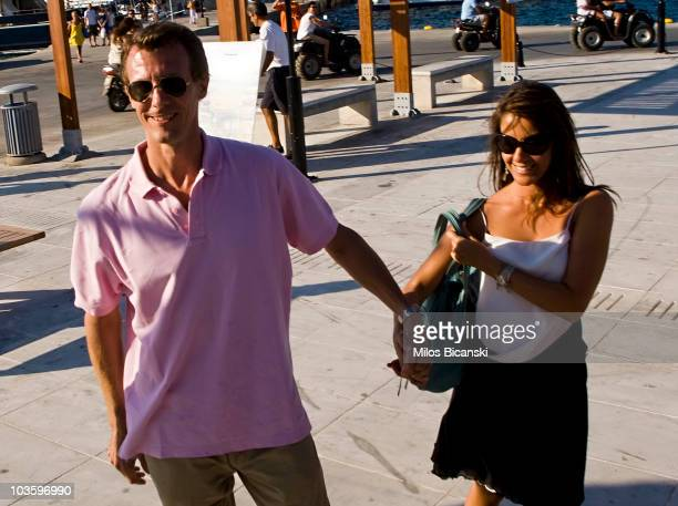 Princess Marie of Denmark and Prince Joachim of Denmark attend a prewedding reception at the Poseidon Hotel on August 24 2010 in Spetses GreeceThe...