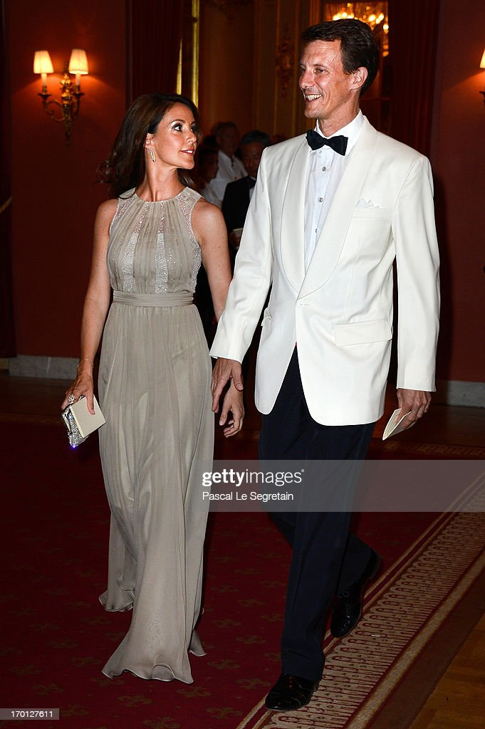 Princess Marie of Denmark and Prince Joachim of Denmark attend a private dinner on the eve of the wedding of Princess Madeleine and Christopher O'Neill hosted by King Carl XVI Gustaf and Queen Silvia at The Grand Hotel on June 7, 2013 in Stockholm, Sweden.