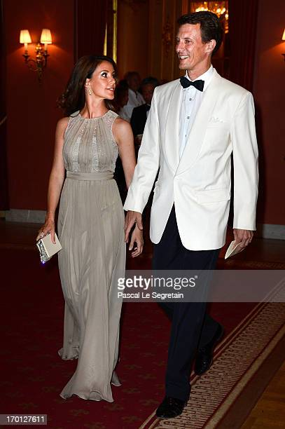 Princess Marie of Denmark and Prince Joachim of Denmark attend a private dinner on the eve of the wedding of Princess Madeleine and Christopher...
