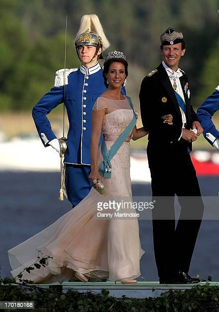 Princess Marie of Denmark and Prince Joachim of Denmark attend the evening banquet after the wedding of Princess Madeleine of Sweden and Christopher...