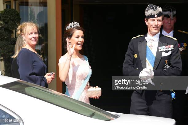 Princess Marie of Denmark and Prince Joachim of Denmark depart The Grand Hotel to attend the wedding of Princess Madeleine of Sweden and Christopher...