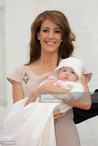 Princess Marie of Denmark and Princess Athena attend the christening of Princess Athena of Denmark at the chrurchyard of Mogeltonder Church on May 20...