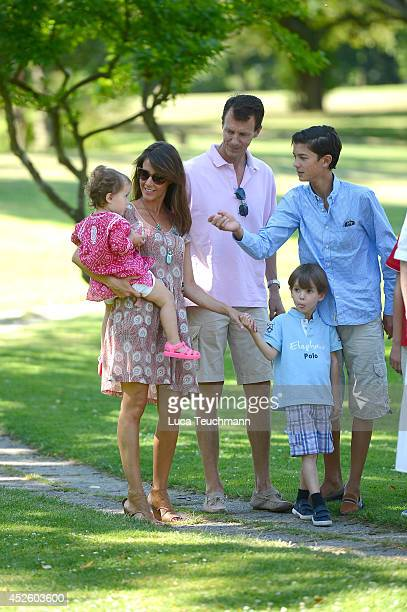 Princess Marie of Denmark and Princess Athena of Denmark attend the annual summer photo call for the Royal Danish family at Grasten Castle on July 24...