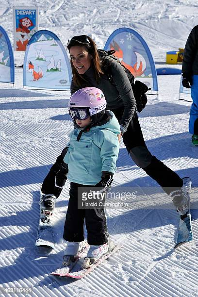 Princess Marie of Denmark and Princess Athena of Denmark attend the Danish Royal family annual skiing photocall whilst on holiday on February 10 2015...