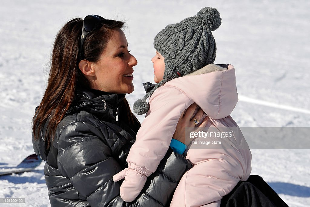 Princess Marie of Denmark and Princess Athena of Denmark meet the press, whilst on skiing holiday in Villars on February 13, 2013 in Villars-sur-Ollon, Switzerland.