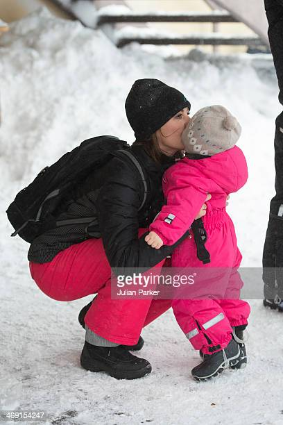 Princess Marie of Denmark and Princess Athena of Denmark pose during their annual winter family holiday photocall on February 13 2014 in...