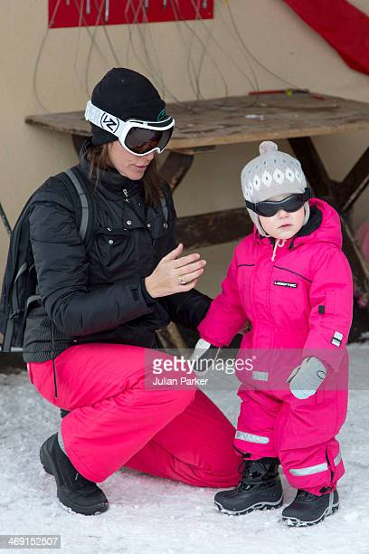 Princess Marie of Denmark and Princess Athena of Denmark poses during their annual winter family holiday photocall on February 13 2014 in...