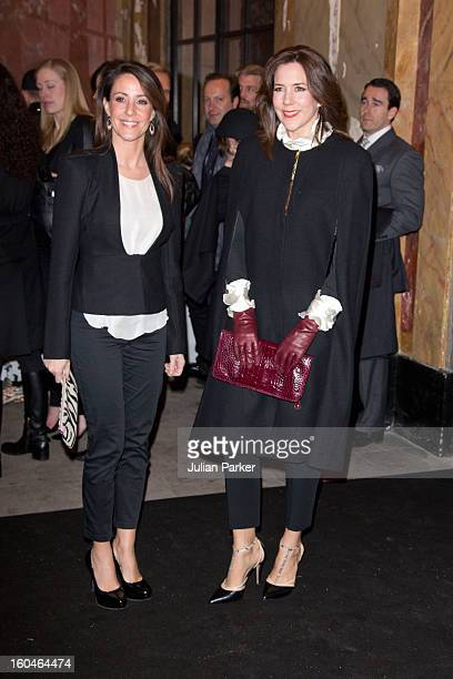 Princess Marie of Denmark and Princess Mary of Denmark attend the Malene Birger show at the Royal Theatre during day two of Copenhagen Fashion Week...