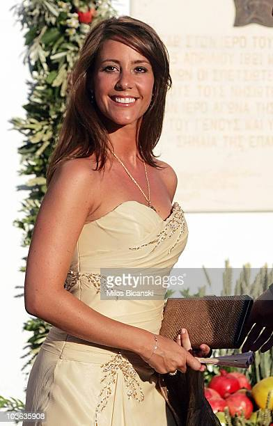 Princess Marie of Denmark arrives to attend the wedding of Tatiana Blatnik with Prince Nikolaos of Greece at the Cathedral of Ayios Nikolaos on...