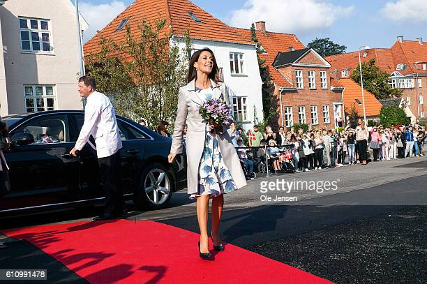 Princess Marie of Denmark arrives to the opening ceremony of ceramic art company Kähler's new head quarter and historic exhibition in Naestved on...