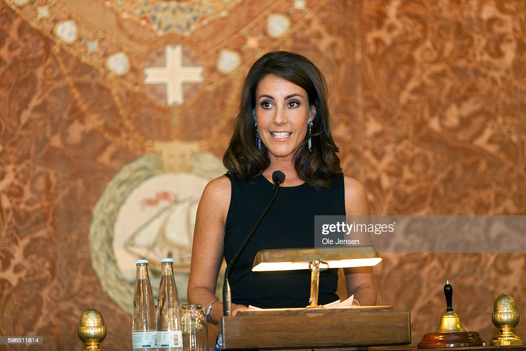 Princess Marie of Denmark holds the opening speech at the international food summit 'Better Food For More People' at Copenhagen City Hall in Denmark on August 25, 2016.