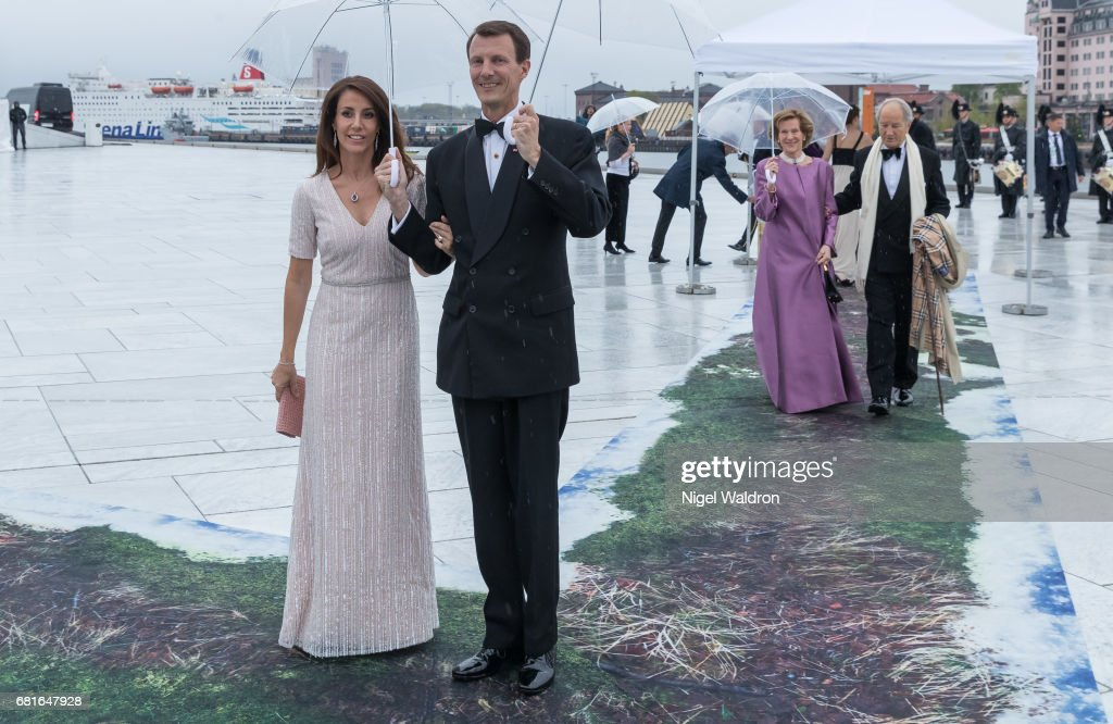 Princess Marie of Denmark, Prince Joachim of Denmark arrives at the Opera House on the occasion of the celebration of King Harald and Queen Sonja of Norway 80th birthdays on May 10 2017 in Oslo, Norway.