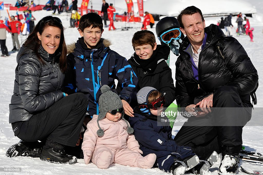 Princess Marie of Denmark, Prince Nikolai of Denmark Prince Felix of Denmark, Princess Athena of Denmark, Prince Henrik of Denmark and Prince Joachim of Denmark meet the press, whilst on skiing holiday in Villars on February 13, 2013 in Villars-sur-Ollon, Switzerland.