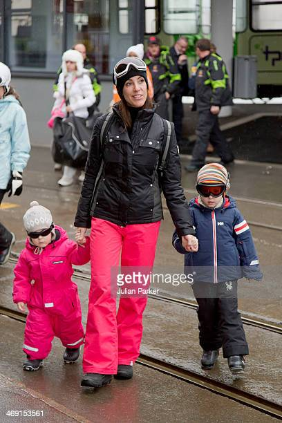 Princess Marie of Denmark Princess Athena and Prince Henrik pose during their annual winter family holiday photocall on February 13 2014 in...