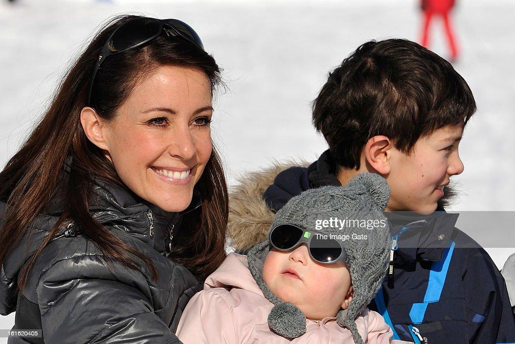 Princess Marie of Denmark, Princess Athena of Denmark and Prince Nikolai of Denmark meet the press, whilst on skiing holiday in Villars on February 13, 2013 in Villars-sur-Ollon, Switzerland.