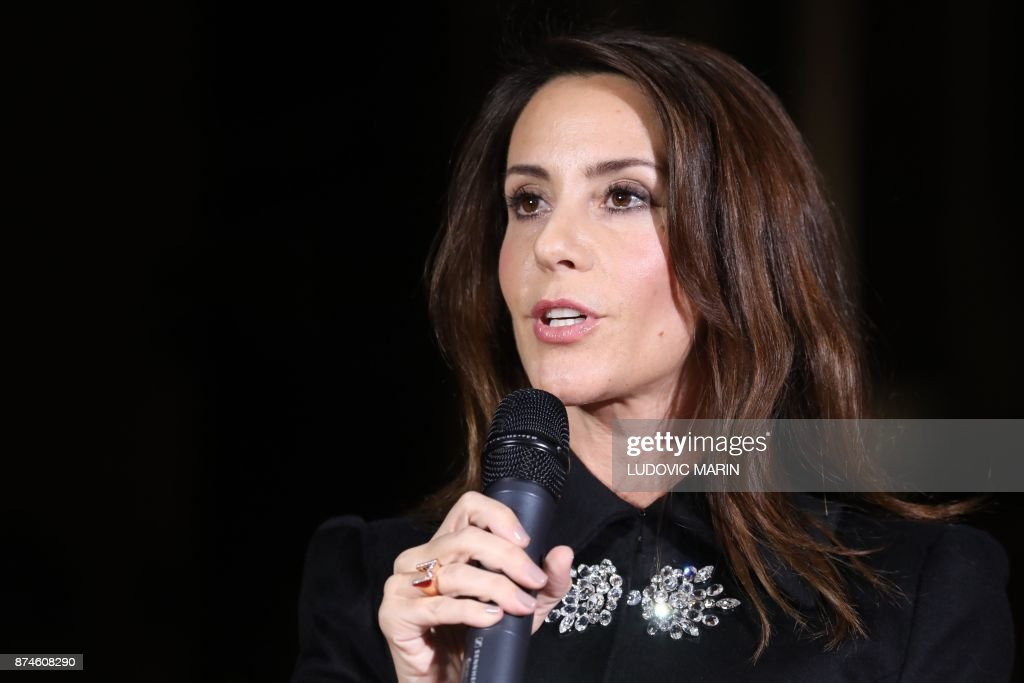 Princess Marie of Denmark (C) speaks in front of the BHV Marais in Paris on November 15, 2017, as the Princess turned on the Christmas lights at the iconic store in the centre of the French capital. /