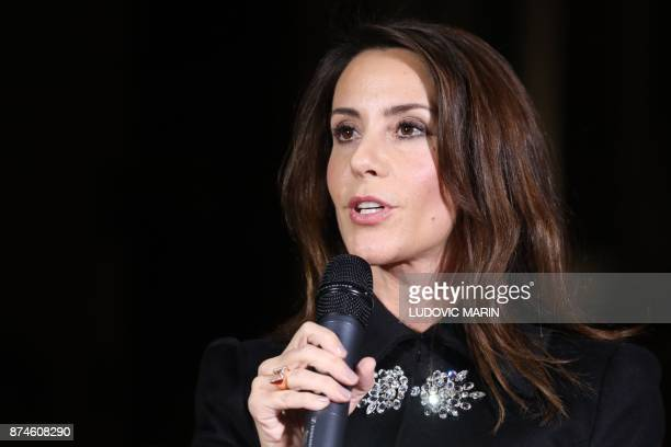Princess Marie of Denmark speaks in front of the BHV Marais in Paris on November 15 as the Princess turned on the Christmas lights at the iconic...