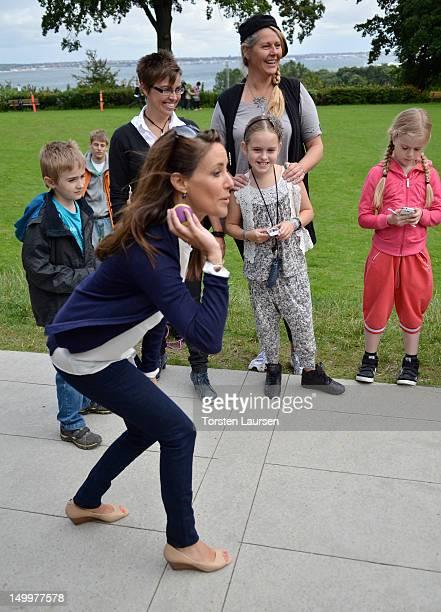 Princess Marie of Denmark visits the National Association Autism Elsinore Holiday Village on August 8 2012 in Helsingor Denmark