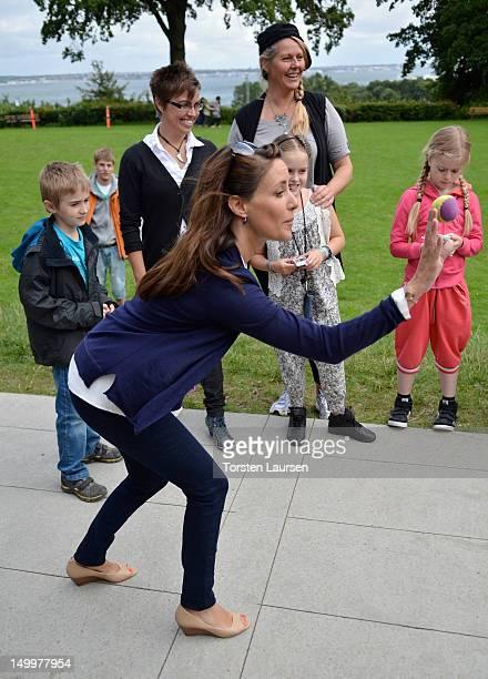 Princess Marie of Denmark visits the National Association for Autism Elsinore Holiday Village on August 8 2012 in Helsingor Denmark