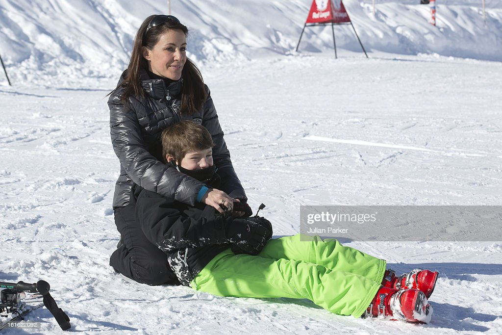 <a gi-track='captionPersonalityLinkClicked' href=/galleries/search?phrase=Princess+Marie+of+Denmark&family=editorial&specificpeople=5611388 ng-click='$event.stopPropagation()'>Princess Marie of Denmark</a> with Prince Joachim's son Prince Felix pose during an annual family skiing holiday on February 13, 2013 in Villars-sur-Ollon, Switzerland.