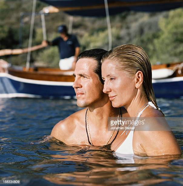 Princess MarieChantal and Prince Pavlos of Greece are photographed for Vanity Fair Magazine on August 24 2007 in Porto Heli Greece PUBLISHED IN...