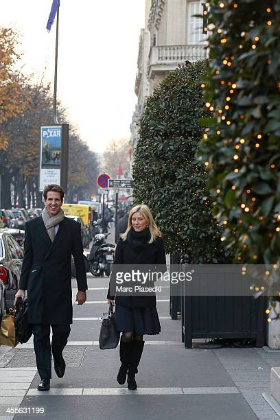 Princess MarieChantal of Greece and Prince Pavlos of Greece and Denmark are seen at the 'Four Seasons George V' hotel on December 12 2013 in Paris...