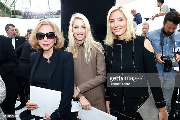 Princess MarieChantal of Greece her daughter Princess Maria Olympia of Greece and her mother Miss Robert W Miller attend the Chanel show as part of...