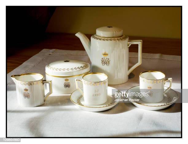 Princess MarieChantal's tea set is photographed at her home 'Beale House' for Vanity Fair Spain on May 23 2009 in West Sussex England Published image