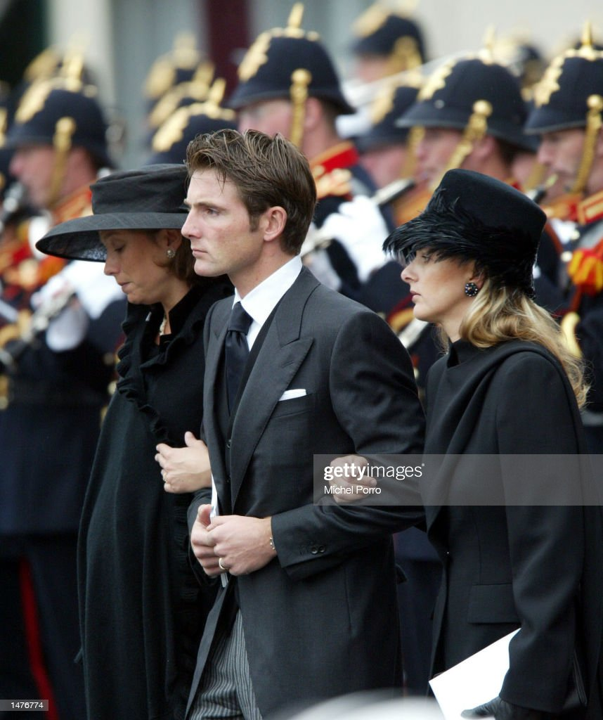 Princess Marilene, Prince Maurits and Mabel Wisse Smit, new girl friend of Prince Johan Friso, leave the Nieuwe Kerk church after the funeral for Prince Claus of the Netherlands October 15, 2002 in Delft, Netherlands. Prince Claus, husband to Queen Beatrix, died October 6, 2002 after a long battle with Parkinson's disease and pneumonia.