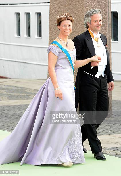 Princess Martha Louise of Norway and Ari Mikael Behn leaves for Drottningholm Palace after the wedding of Princess Madeleine of Sweden and...