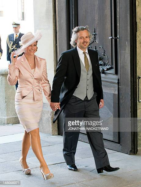 Princess Martha Louise of Norway and her husband Ari Behn arrive on May 22 2012 for the christening of Princess Estelle of Sweden at the Royal Chapel...