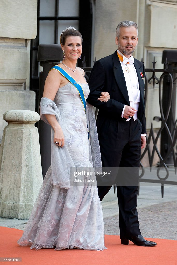 Princess Martha Louise of Norway, and husband Ari Behn, arrive at The Royal Chapel, at The Royal Palace in Stockholm for The Wedding of Prince Carl Philip of Sweden and Sofia Hellqvist on June 13, 2015 in Stockholm, Sweden.