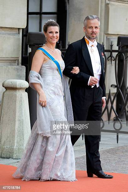 Princess Martha Louise of Norway and husband Ari Behn arrive at The Royal Chapel at The Royal Palace in Stockholm for The Wedding of Prince Carl...